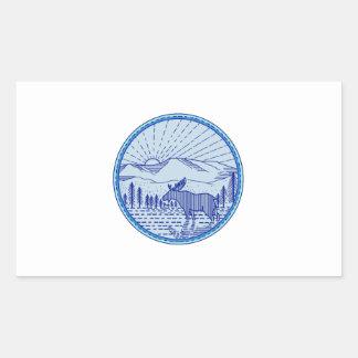 Cercle plat Li mono de rayon de soleil de Sticker Rectangulaire