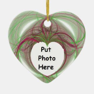 cercle rouge et vert de 3D avec l'ouverture de Ornement Cœur En Céramique