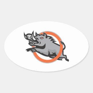Cercle sautant de porc de balénoptère sauvage de stickers ovales