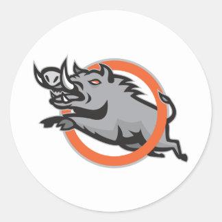 Cercle sautant de porc de balénoptère sauvage de autocollant rond