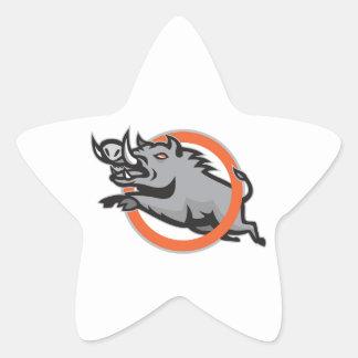 Cercle sautant de porc de balénoptère sauvage de v sticker en étoile