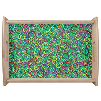 cercles 3D sur le plateau turquoise de portion