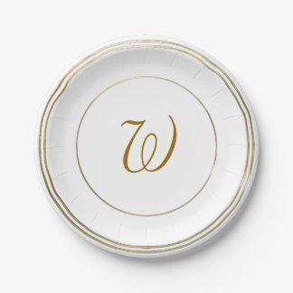 """Cercles d'or et modèle simples 7"""" de monogramme assiettes en papier"""