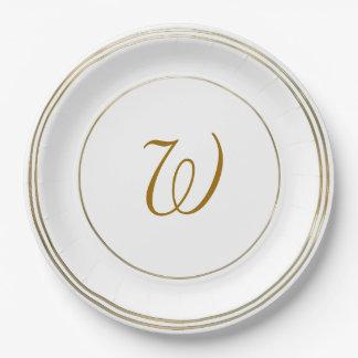 Cercles d'or et modèle simples de monogramme assiettes en papier