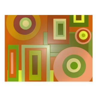 cercles et carrés jaunes carte postale