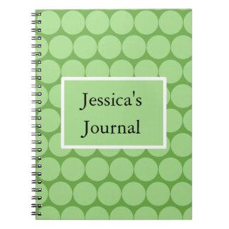 Cercles et rectangle verts en pastel carnet