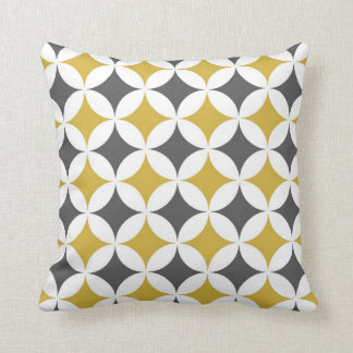 Cercles géométriques classiques dans la moutarde coussin décoratif