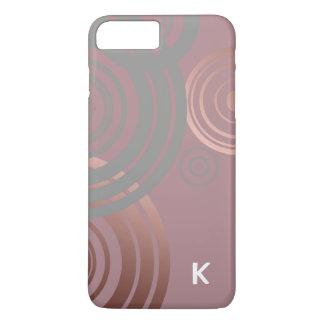 cercles géométriques gris d'or rose clair élégant coque iPhone 7 plus