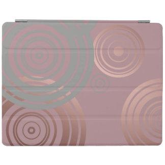 cercles géométriques gris d'or rose clair élégant protection iPad