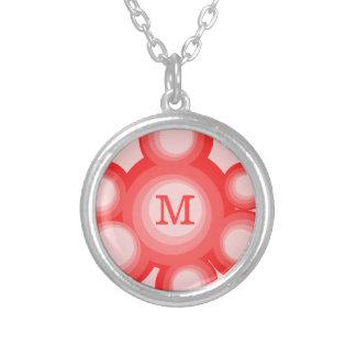 Cercles rouges et roses de monogramme collier