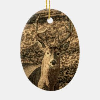 cerf de Virginie d'outdoorsman de camouflage de Ornement Ovale En Céramique