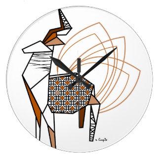 Cerf origami grande horloge ronde