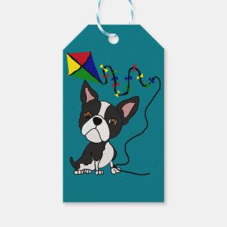 Cerf-volant mignon de vol de chien de Boston Étiquettes-cadeau