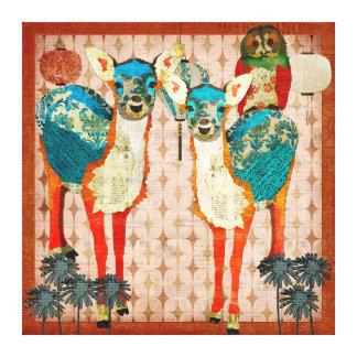 Cerfs communs azurés et art rose de toile de toiles tendues