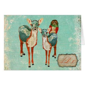 Cerfs communs azurés vintages et carte pour notes