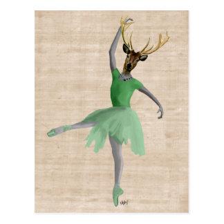 Cerfs communs de ballet en vert 2 carte postale