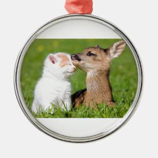 Cerfs communs de bébé et caresse de chaton ornement rond argenté