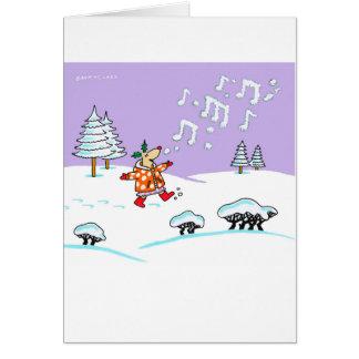 Cerfs communs de houx dans la pleine carte de Noël