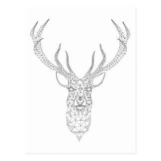 Cerfs communs de Noël avec le motif géométrique Carte Postale