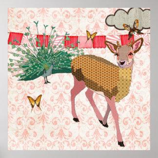 Cerfs communs de rose et affiche d'or de damassé d
