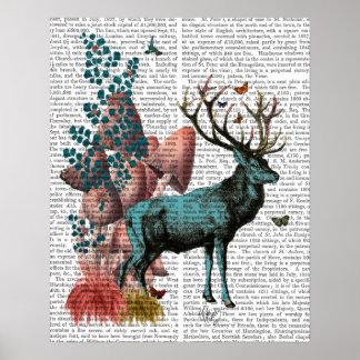 Cerfs communs de turquoise dans la forêt de poster