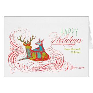 Cerfs communs de vacances d'art de bruit pliés cartes de vœux
