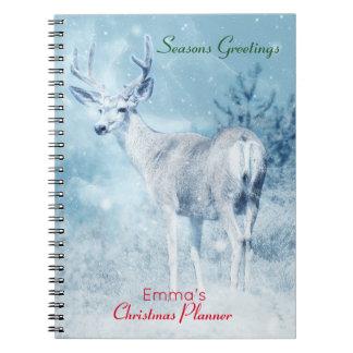 Cerfs communs d'hiver et planificateur de Noël de Carnet