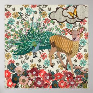 Cerfs communs d'or de rose et affiche florale de
