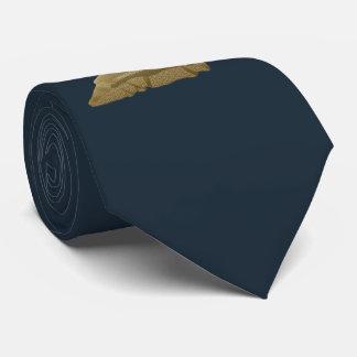 Cerfs communs d'or sur bleu-foncé, personnalisable cravate