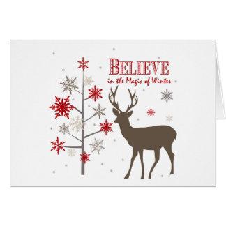 cerfs communs et flocons de neige rustiques cartes de vœux
