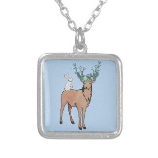 Cerfs communs et lapin pendentif carré