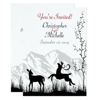 Cerfs communs et montagnes de silhouette épousant carton d'invitation  12,7 cm x 17,78 cm