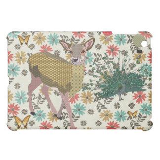 Cerfs communs et paon d'or de rose floraux étuis iPad mini