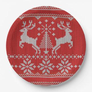 Cerfs communs laids de chandail de Noël de Knit Assiettes En Papier