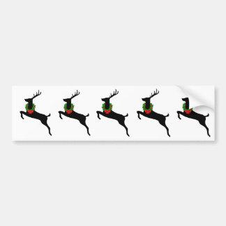 Cerfs communs noirs de rêne avec la guirlande de N Autocollant Pour Voiture