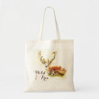 Cerfs communs sauvages et libres d'aquarelle   sacs de toile