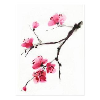 Cerise fleurissante. Ressort. Encre et brosse Carte Postale
