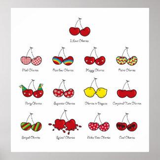Cerise rouge effrontée drôle comique de cerises affiches