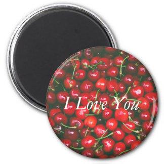 Cerise rouge - je t'aime (texte personnalisable) aimant