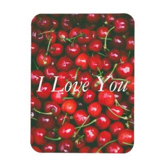 Cerise rouge - je t'aime (texte personnalisable) magnet flexible