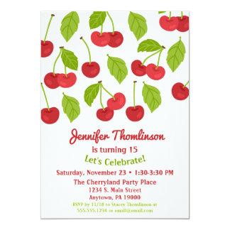 Cerises de rouge d'été d'invitation d'anniversaire carton d'invitation  12,7 cm x 17,78 cm