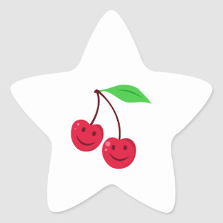Cerises mignonnes sticker étoile