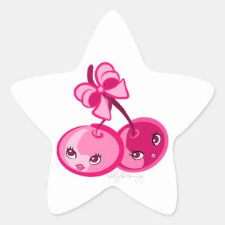 Cerises roses Girly mignonnes Sticker En Étoile