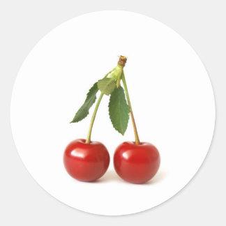 Cerises rouges sticker rond