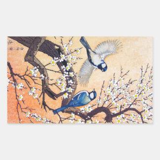 Cerisier oriental frais d'oiseaux de Yoshida de Autocollant En Rectangle