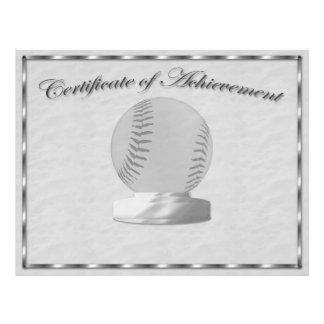 Certificat argenté de base-ball de l'accomplisseme prospectus 21,6 cm x 24,94 cm