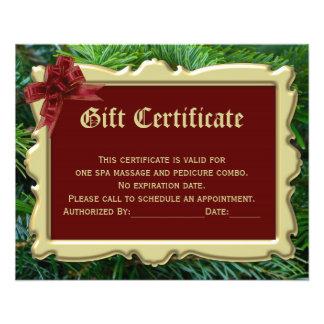Certificat de cadeau de Noël imprimant 2-Side Prospectus 11,4 Cm X 14,2 Cm