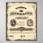 Certificat de mariage 1800's vintage affiches