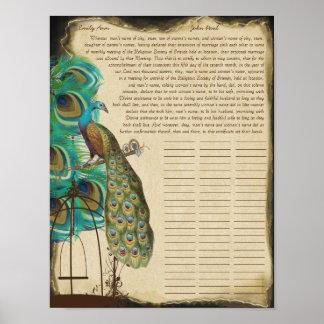 Certificat de mariage de quaker d'impression de poster