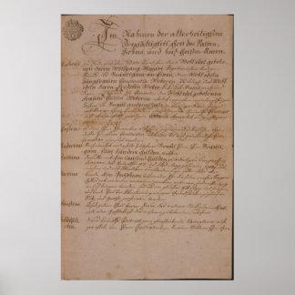 Certificat de mariage de Wolfgang, de Mozart et de Poster